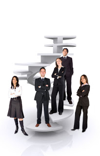 business team work - corporate ladder over a white background